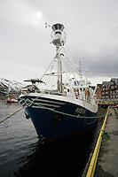 Norwegian minke whaling boat at dock in Tromso Harbour, Arctic Norway, North Atlantic