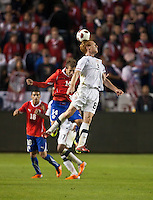 CARSON, CA – JANUARY 22: Chile midfielder Felipe Seymour (14) and USA Jeff Larentowicz (8) during the international friendly match between USA and Chile at the Home Depot Center, January 22, 2011 in Carson, California. Final score USA 1, Chile 1.