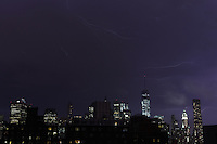 Lightning from a heavy thunderstorm over Manhattan on July 3, 2014