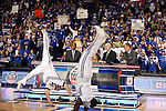 UK cheerleaders flip across the floor at the start of  ESPN Game Day at Rupp Arena on Saturday, Feb. 13, 2010 . Photo by Britney McIntosh | Staff