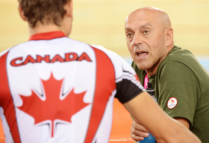LONDON, ENGLAND – 08/24/2012:  Coach Eric Van den Eynde during a training session at the London 2012 Paralympic Games at The Velodrome. (Photo by Matthew Murnaghan/Canadian Paralympic Committee)