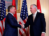 Washington, DC - April 4, 2017: U.S Secretary of State Rex Tillerson meets with Jordanian King Abdullah II Ibn Al Hussein at the State Department in the District of Columbia April 4, 2017.  (Photo by Don Baxter/Media Images International)