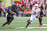 College Park, MD - November 26, 2016: Rutgers Scarlet Knights wide receiver Jawuan Harris (3) runs after catching the ball during game between Rutgers and Maryland at  Capital One Field at Maryland Stadium in College Park, MD.  (Photo by Elliott Brown/Media Images International)