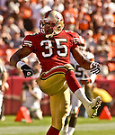 San Francisco 49ers defensive back Dwaine Carpenter (35) celebrates breaking up pass play on Sunday, September 21, 2003, in San Francisco, California. The Browns defeated the 49ers 13-12.