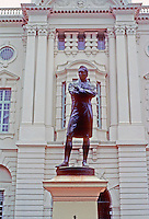 Singapore: Sir Stamford Raffles statue, cast in dark bronze by Thomas Woolner stands in front of Victoria Theatre. Raffles founded Singapore. Photo '82.