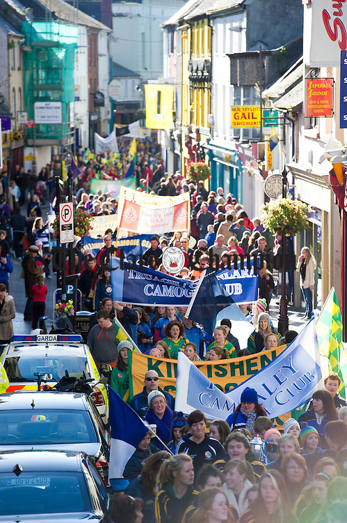 The parade through Ennis to Cusack Park for the Ireland V Scotland senior hurling shinty International game, to mark the official opening of Fr Mc Namara Memorial Park in Doora. Photograph by John Kelly.