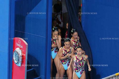 Japan team group (JPN), <br /> JULY 28, 2015 - Synchronised Swimming :<br /> 16th FINA World Championships Kazan 2015<br /> Women's Team Free Routine <br /> Preliminary <br /> at Kazan Arena in Kazan, Russia.<br /> (Photo by Yohei Osada/AFLO SPORT)