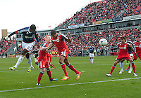 14 April 2012: Chivas USA midfielder Oswaldo Minda #8 scores a goal during the first half in a game between Chivas USA and Toronto FC at BMO Field in Toronto.