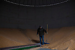 Mike Nelson inside a corn silo on Wednesday, November 30, 2011 in Webster City, IA.