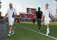 18 July 2012: Colorado Rapids forward Conor Casey #9, Colorado Rapids goalkeeper Steward Ceus #31 and Colorado Rapids midfielder Jeff Larentowicz #4 walks off the pitch after warm-up during an MLS game between the Colorado Rapids and Toronto FC at BMO Field in Toronto, Ontario..Toronto FC won 2-1..