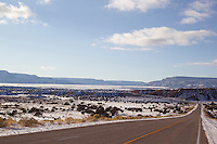 snowy day on a deserted road in Abiquiu, NM