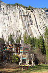 Spring runoff cascades over the granite walls behind the Ahwahnee Hotel in Yosemite National Park in California. Photographed 04/05