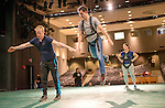 Jason Whicker (Left) of On The Fly Productions shows actor Greg Hofmeister (Center) and actress Bonnie Hall (Right) how to fly for their roles in the Ohio Valley Summer Theater's production of Mary Poppins in Kantner Hall. ©Ohio University/ Photo by Ben Siegel