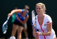 Kim CLIJSTERS (BEL) & Kirsten FLIPKENS (BEL) against Sarah BORWELL (GBR) & Raquel KOPS-JONES (USA). Clijsters and Flipkens beat Borwell and  Kops-Jones 7-6 6-4..International Tennis - 2010 ATP World Tour - Sony Ericsson Open - Crandon Park Tennis Center - Key Biscayne - Miami - Florida - USA - Thurs  25 Mar 2010..© Frey - Amn Images, Level 1, Barry House, 20-22 Worple Road, London, SW19 4DH, UK .Tel - +44 20 8947 0100.Fax -+44 20 8947 0117