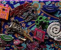 A collection of coloured glass jewellery made by fashion designer Zandra Rhodes