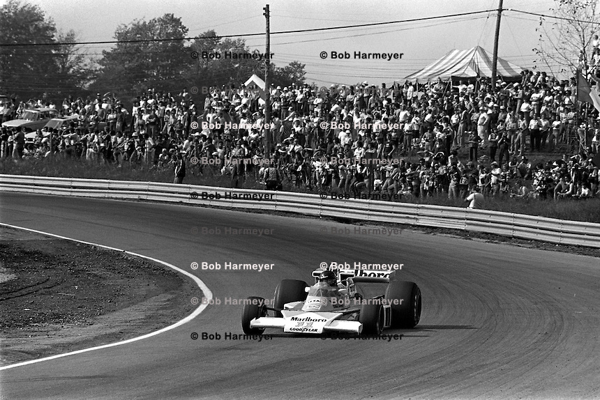 BOWMANVILLE, ONTARIO - OCTOBER 3: James Hunt of Great Britain drives his McLaren M23 8-2/Ford Cosworth en route to victory in the Canadian Grand Prix FIA Formula 1 race at Mosport Park near Bowmanville, Ontario, on October 3, 1976.