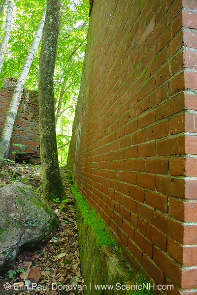 Brick wall of the powerhouse in the abandoned town of Livermore. This was a late 19th and early 20th century logging town along the Sawyer River Logging Railroad in Livermore, New Hampshire.