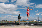 Boise sophomore Peyton Harris in the air during the YMCA Track and Field Invite long jump event on April 28, 2012 at Rocky Mountain High School, Meridian, Idaho. Harris finished second with a jump of 21-01.25