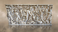 Roman sarcophagus depicting a battle between Achilles and Pentesilea and Amazons, the faces of the deceased have been sculpted over the Greek heroes, circa 230-250 AD, inv 933, Vatican Museum Rome, Italy,  art background