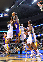 Lamar Odom (9) of the Lakers controls the ball. Los Angeles defeated Washington 103-89 at the Verizon Center in Washington, DC on Tuesday, December 14, 2010. Alan P. Santos/DC Sports Box