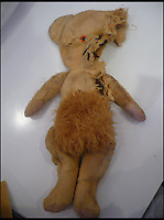 BNPS.co.uk (01202 558833)<br /> Pic: AlicesBearShop/BNPS<br /> <br /> This teddy would need some major surgery.<br /> <br /> Broken bears and deteriorating dolls from all over the world are being brought back to life by a UK team of dedicated doctors and nurses at one of the last remaining toy hospitals.<br /> <br /> The team at Alice's Bear Shop, a teddy bear and doll hospital in Lyme Regis, Dorset, perform all kinds of 'surgery' from simple restringing and re-stuffing to head re-attachments and complete skin grafts.<br /> <br /> Rikey Austin, 49, opened the hospital in January 2000 but also ran a shop and only repaired one or two toys a month.<br /> <br /> Now she has a four-month waiting list for patients and has had to close the shop to focus on the hospital side of the business.