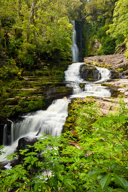 McLean Falls in the Catlins Forest Park in Otago - stock photo, canvas, fine art print