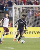 New England Revolution forward Kenny Mansally (7) brings the ball forward. In a Major League Soccer (MLS) match, the New England Revolution tied the Colorado Rapids, 0-0, at Gillette Stadium on May 7, 2011.