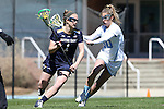 03 April 2016: Notre Dame's Kiera McMullan (1) and North Carolina's Alex Moore (30). The University of North Carolina Tar Heels hosted the University of Notre Dame Fighting Irish in a 2016 NCAA Division I Women's Lacrosse match. Maryland won the game 14-8.