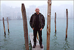 Tiziano Scarpa photographed along  Venice's channels, 2002.