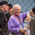 25 August 2016: Baltimore Orioles broadcaster Gary Thorne chats with Orioles Manager Buck Showalter prior to a game against the Washington Nationals at Nationals Park in Washington, DC. The Nationals blanked the Orioles 4-0 to salvage one game of their 4-game home and away series. Mandatory Credit: Ed Wolfstein Photo *** RAW (NEF) Image File Available ***