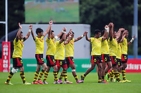 The Malaysia team acknowledge the crowd after the match. FISU World University Championship Rugby Sevens Men's 7th/8th/9th place play-off between Malaysia and Argentina on July 9, 2016 at the Swansea University International Sports Village in Swansea, Wales. Photo by: Patrick Khachfe / Onside Images