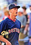11 March 2010: Boston Red Sox infielder Jeremy Hazelbaker returns to the dugout prior to a Spring Training game against the New York Mets at Tradition Field in Port St. Lucie, Florida. The Red Sox defeated the Mets 8-2 in Grapefruit League action. Mandatory Credit: Ed Wolfstein Photo
