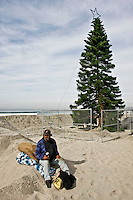 James Rees sits next to the Christmas tree at the foot of Newport Beach Ave in San Diego, California on November 27th 2007.  Rees, who says that he has lived on the beach for many years said that he thought this year?s tree looked better than last year?s one