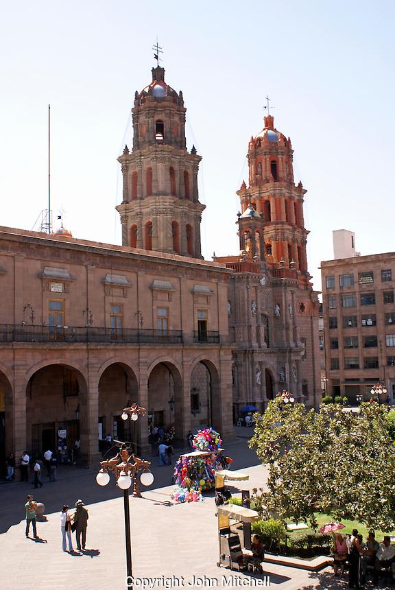 The cathedral and Plaza de Armas in the city of San Luis de Potosi, Mexico