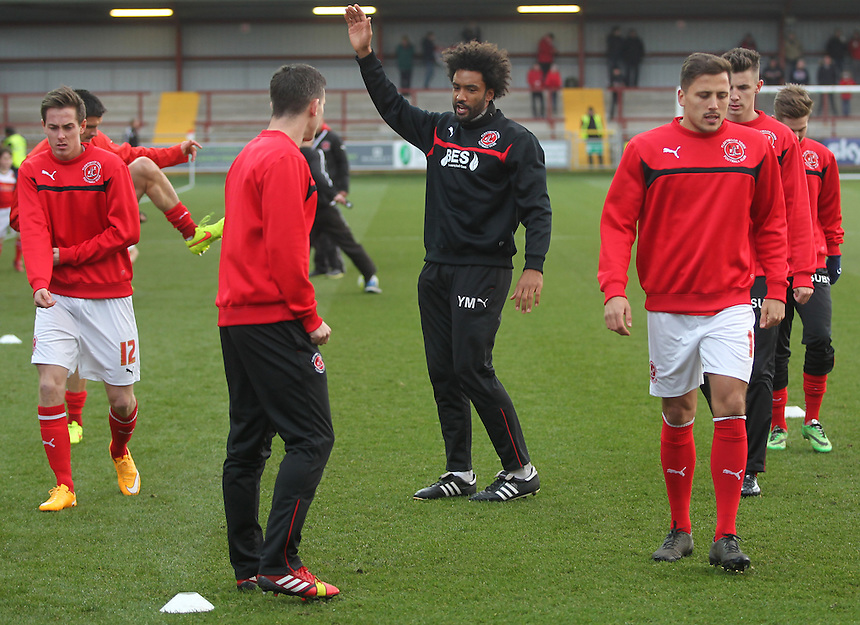 Fleetwood Town's players warm up<br /> <br /> Photographer Mick Walker/CameraSport<br /> <br /> Football - The Football League Sky Bet League One - Fleetwood Town v Sheffield United - Saturday 13th December 2014 - Highbury Stadium - Fleetwood<br /> <br /> &copy; CameraSport - 43 Linden Ave. Countesthorpe. Leicester. England. LE8 5PG - Tel: +44 (0) 116 277 4147 - admin@camerasport.com - www.camerasport.com