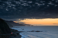 Coastline between Punakaiki and Greymouth at sunset, West Coast Buller Region, New Zealand
