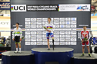 Picture by Simon Wilkinson/SWpix.com - 04/03/2017 - Cycling 2017 UCI Para-Cycling Track World Championships, Velosports Centre, Los Angeles USA - Jozef METELKA, Kyle BRIDGWOOD, Sergei PUDOV , branding