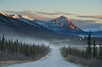 Dust along the gravel road, Mount Dillon and the James Dalton Highway, Haul Road, in the Brooks Range, Arctic Alaska