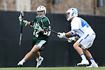 DURHAM, NC - MARCH 11: Duke's Zack Sirico (32) and Duke's Ethan Powley (44). The Duke University Blue Devils hosted the Loyola University Maryland Greyhounds on March 11, 2017, at Koskinen Stadium in Durham, NC in a Division I College Men's Lacrosse match. Duke won the game 15-7.