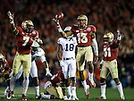 Commissioned by United Press International<br /> <br /> Jalen Ramsey (13) and the Seminole defense reacts to what they though was a recovered fumble in the first half of  the the BCS national title game at the Rose Bowl in Pasadena, California on January 6, 2014.