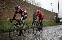 Loic Vliegen (BEL/BMC) &amp; Sean De Bie (BEL/Lotto-Soudal) racing hard over the wet cobbles<br /> <br /> GP Samyn 2016