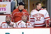 Brian McGuirk (BU - 28), Larry Venis (BU - Trainer), Ryan Weston (BU - 9), Adam Kraus (BU - 32) - The Boston University Terriers defeated the University of Maine Black Bears 1-0 (OT) on Saturday, February 16, 2008 at Agganis Arena in Boston, Massachusetts.