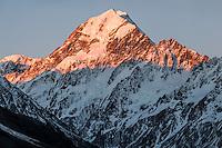 Sunset on Aoraki,Mount Cook, Aoraki, Mt. Cook National Park, Mackenzie Country, UNESCO World Heritage Area, South Island, New Zealand, NZ