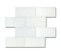 3&quot; x 6&quot; Brick shown in polished and flat Paperwhite are part of New Ravenna's Studio Line. All mosaics in this collection are ready to ship within 48 hours.<br />