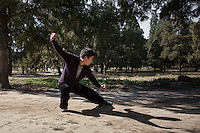 Morning activity at the Temple of Heaven park in Beijing, China.
