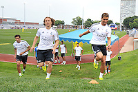 Saint Louis, MO August 1 2013<br /> Luca Modric, Cristiano Ronaldo<br /> Real Madrid practiced at Herman Stadium on the campus of Saint Louis University ahead of their international friendly with Inter Milan at the Edward Jones Dome.