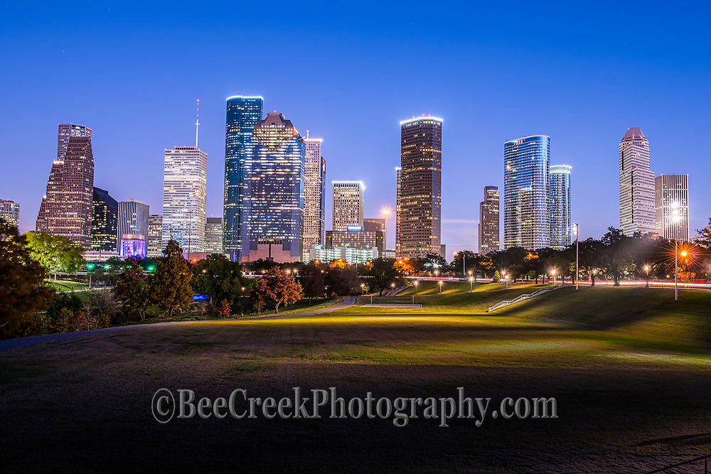 This is one of my favorite image of the Houston skyline as the blue hour really pops the buildings and the park lights turn on which show just how close the city is to one of the many parks that run along the Buffalo Bayou in the city.