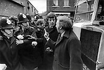 Arthur Scargill confronts police at the Grunwick Strike , North London, 1977..