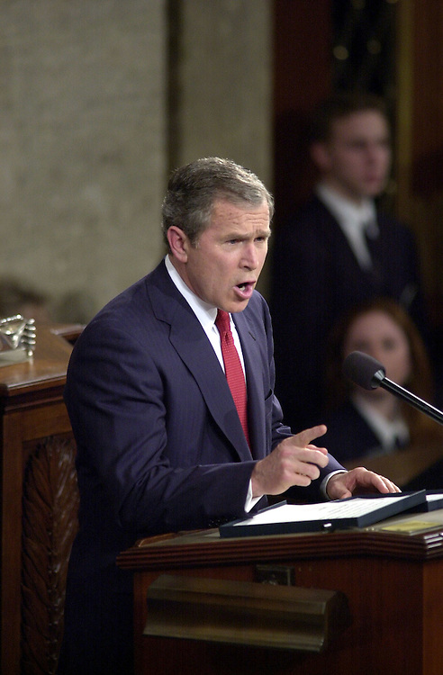 8joint022701 -- President George W. Bush makes his address to the Joint Session of Congress.