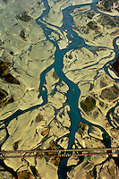 River in the Cardrona Valley, aerial view from a plane